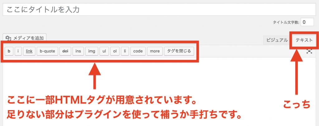 WordPressのHTMLモードの画面